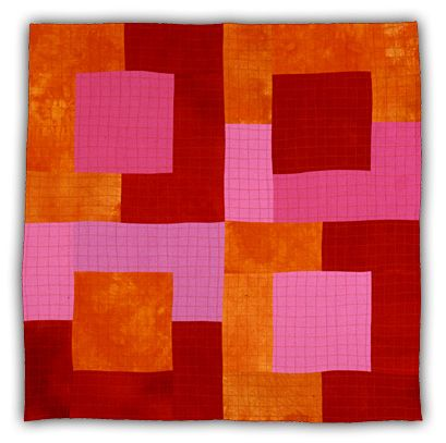 Pink-Orange-Red Squares, by Eleanor McCain - Art Quilts: Galleries - Shapes Series.      http://www.eleanormccain.net/Pages/GalleriesShapes.html#