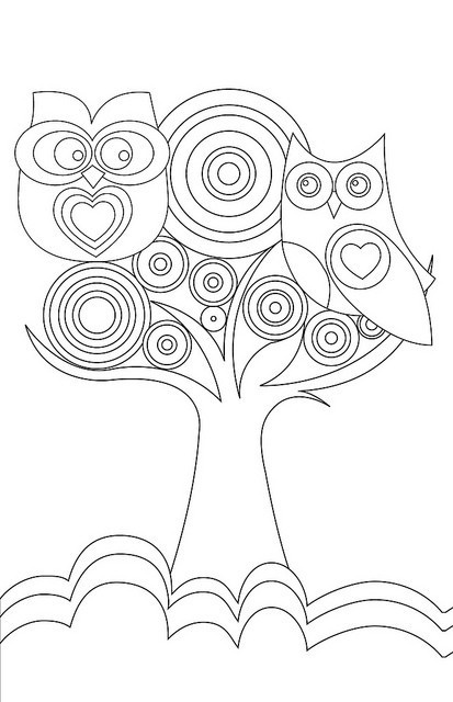 free owl coloring page - Cute Owl Printable Coloring Pages