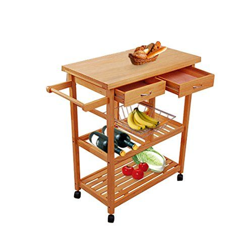 Tenive Pine Wood Rolling Kitchen Trolley Cart Dining Storage Kitchen  Utility Cart Kitchen Island With Win