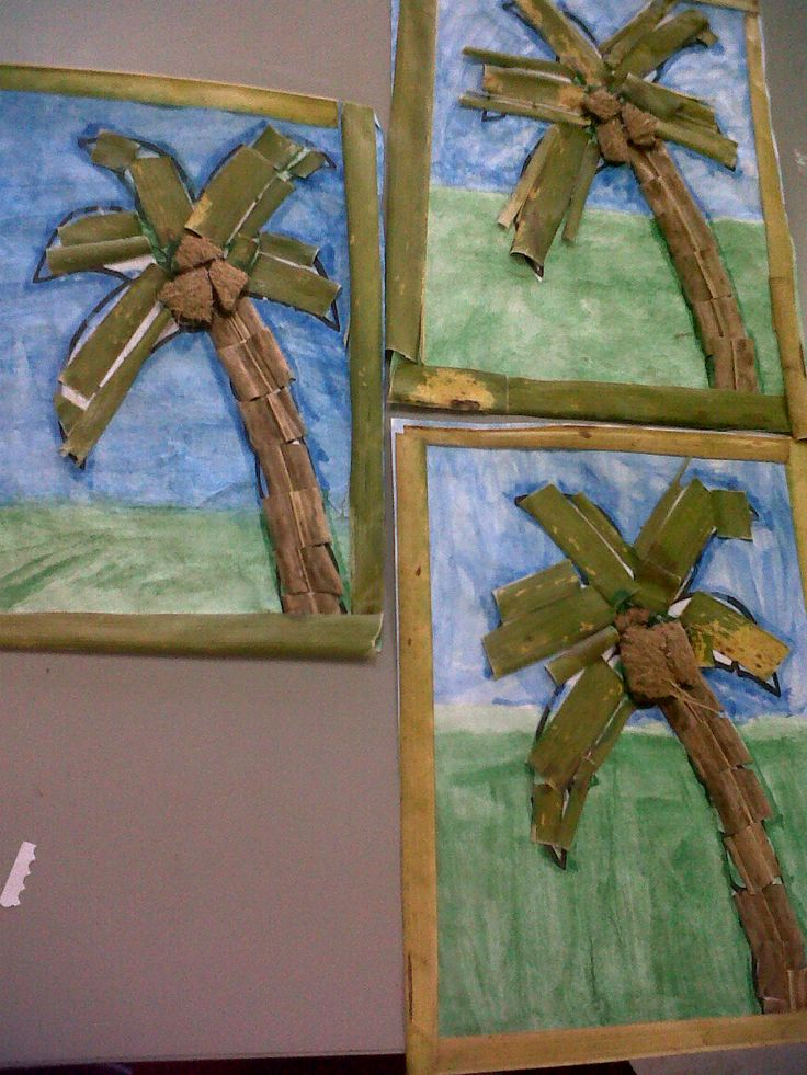 Coconut tree collage (coconut shells and strips of coconut leaves)