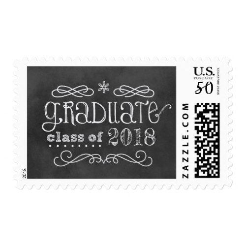 Graduation Class of 2018   Black Chalkboard Postage