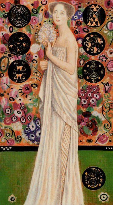 Golden Klimt Tarot- Seven of Coins