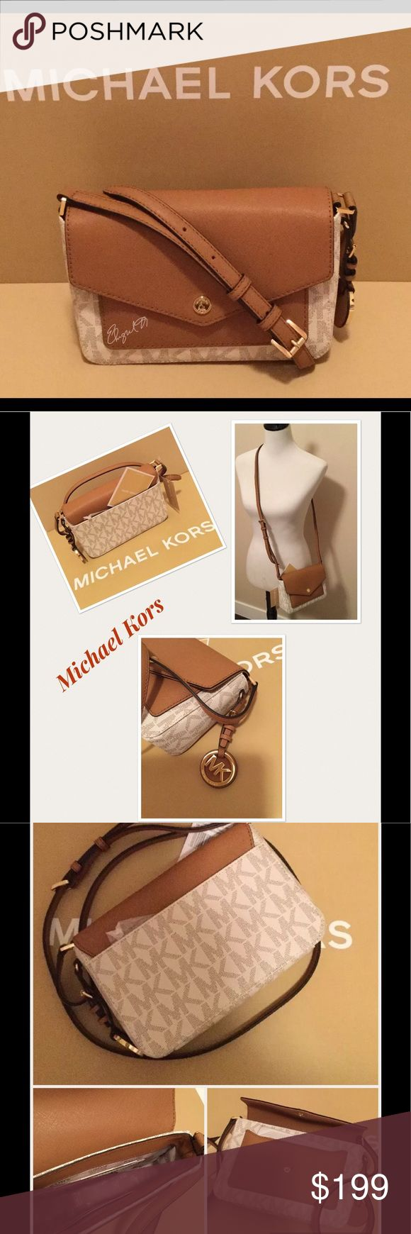 NWT MICHAEL KORS GREENWICH PVC SMALL CROSSBODY -Retail price $228.00  -STYLE# 35S7GG1C1B  -Color: Color Pocket Vanilla/Acorn  -MK Signature PVC w/ Saffiano leather trim  -goldtone hardware  -Small button Michael Kors logo on front  -MK medallion logo hang tag on one side  -Flap button closure  -Exterior full length slip pocket at the back & 1 envelope pocket under the flap  -Inside: 1 slip pocket & 3 credit card slots  -Mk signature fabric lining  -dimensions: 8'' (L) x 5.25'' (H) x 2.25''…