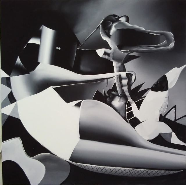 Available for sale from BILL BRADY GALLERY, Tomoo Gokita, Black Magic , Acrylic gouache on linen, 80 × 80 cm
