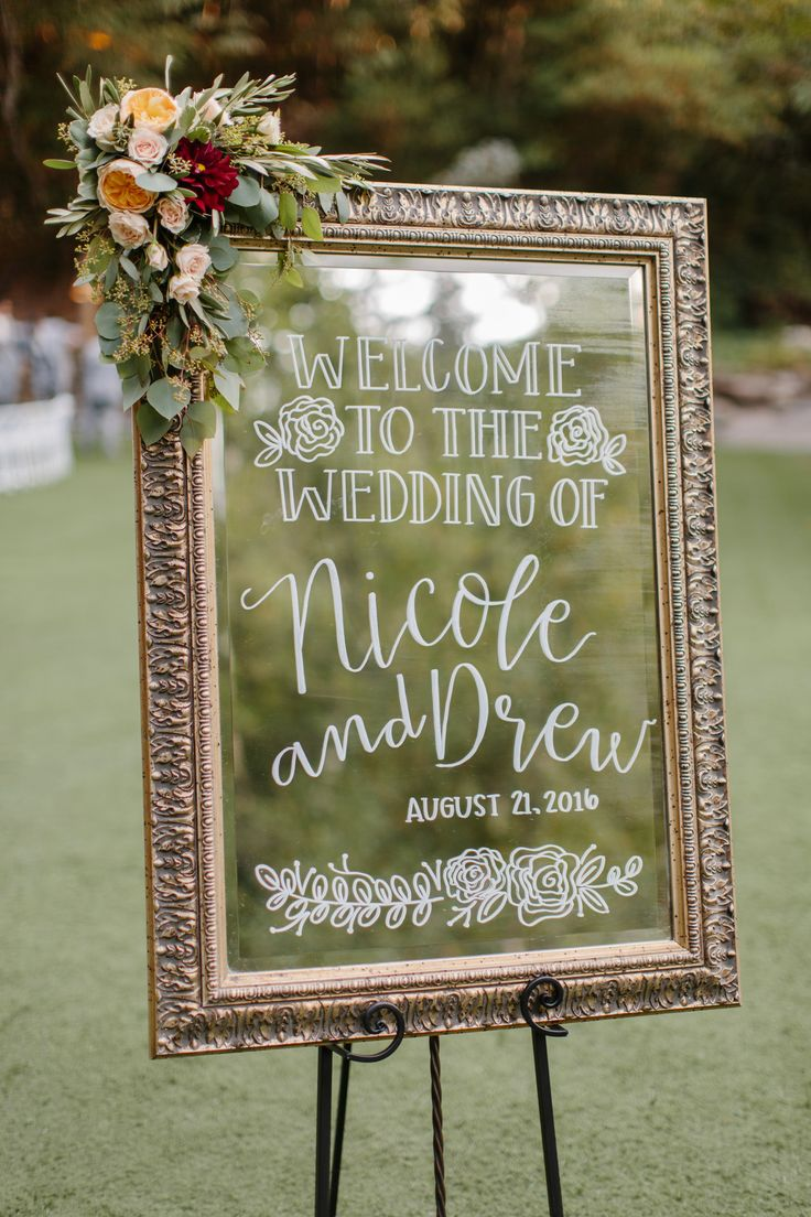 Rustic glam welcome sign with corner floral piece ...