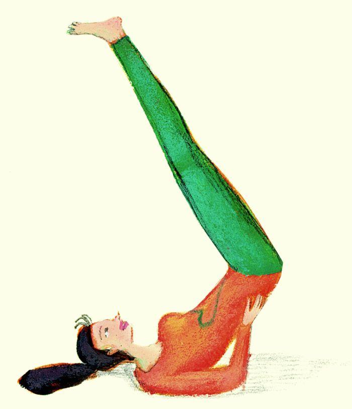 La capovolta. Con la schiena a terra, su un tappeto, le braccia lungo il busto, piegare le gambe con le piante dei piedi a terra. Subito con un leggero slancio, sollevare il bacino e portare le gambe dritte perpendicolari al corpo sorreggendo il bacino con i palmi delle mani e poggiando i gomiti di lato al busto, vicino alla vita. Si rimane in questa posizione con respiri tranquilli, a lungo. La capovolta porta nuova energia a tutto l'organismo, sblocca il diaframma, fa riposare.