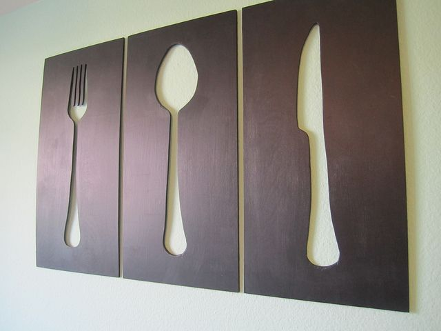 Silverware silhouettes.    Now, I just need the right tools: Dining Rooms, Wall Art, Wall Decor, Silverware Art, Kitchens Decor, Silverware Silhouette, Kitchens Wall, Kitchens Art, Diy Wall
