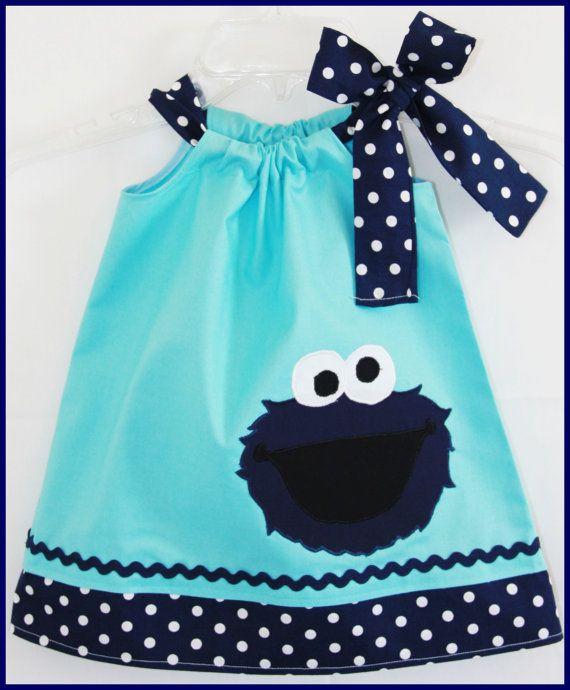 Super Cute Aqua and Navy Polka dot Cookie Monster  applique Dress