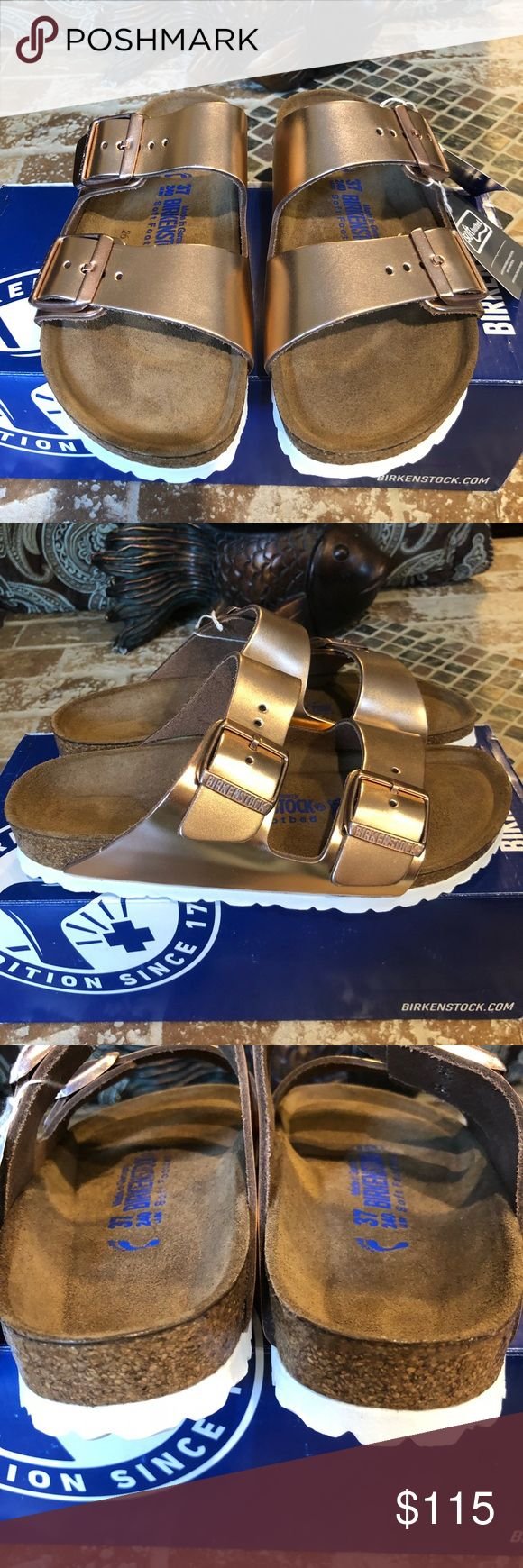 Birkenstock NWT Size 37 L6 Narrow Fit Brand new. Original box Arizona Natural Leather Soft Footbed Metallic Copper The often imitated, never duplicated, category-defining, two-strap wonder from Birkenstock. A comfort legend and a fashion staple. With adjustable straps and a magical cork footbed that conforms to the shape of your foot, a truly custom fit is as effortless as the classic design. Birkenstock Shoes Sandals