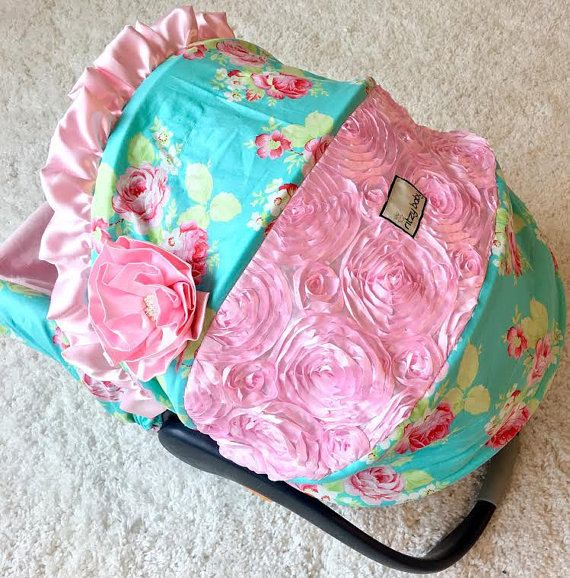 Ritzy Baby Aqua Lola Roses Infant Car Seat Cover by ShopRitzyBaby