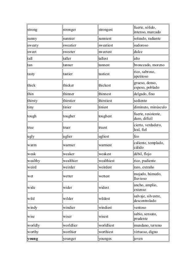 Lista De Los Adjetivos Más Comunes Adjetivos Comparativos Y Superlativos Lista De Adjetivos