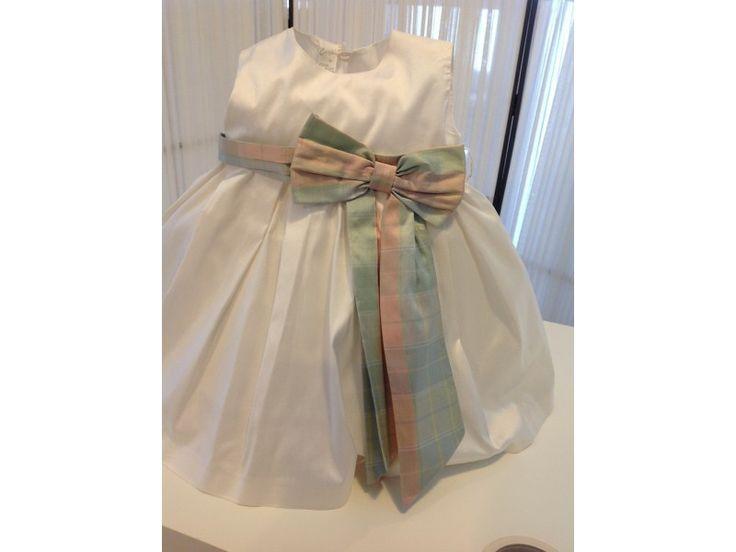 Βαπτιστικό φόρεμα λευκό σατέν με φιόγκο