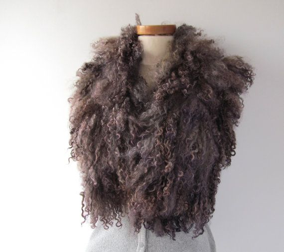Felt Fur Curly Scarf Grey violet Hand Felted Pure Real Wool Fleece by Feltfur Organic and Cruelty Free 100 % pure real wool  Lovely texture, light,
