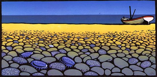 """Pebbles"" - Chris Wormell (lino-cut)"