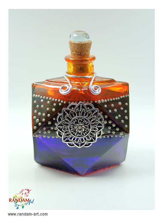 Painted Glass Bottle Reed Diffuser in Purple Burgundy by RandamArt, $16.99