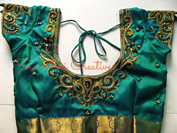 SRI AARI CREATIVES: EMBOSSED THREAD WORK & EMBOSSED ZARDOSI WORK ON WEDDING DESIGNER BLOUSES