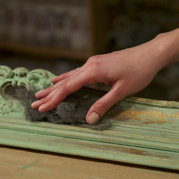 Marat Ka studio. Creating Limewash effect on gold. Wood frame.