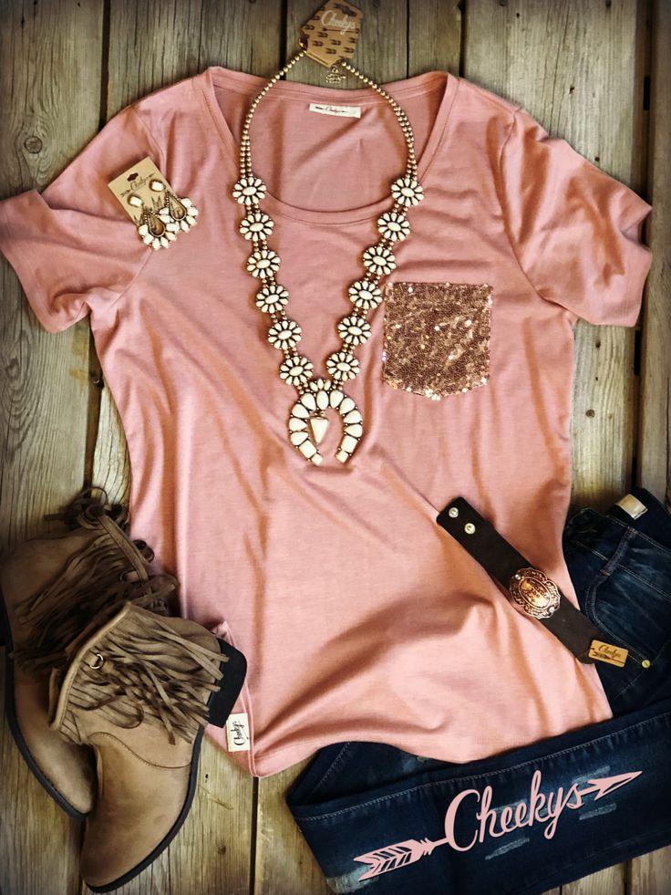 Rose Gold Sequin Pocket Tee #teeshirt #sequins #rosegold https://cheekysboutique.com