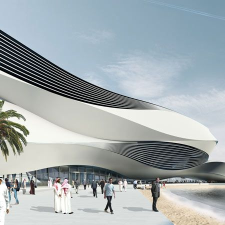 Dutch architects UNStudio have sent us these images of a planned arts and retail complex in Dubai, UAE, to include the Museum of Middle Eastern Modern Art.