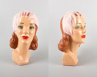 Vintage jaren 1950 Hat   50s roze veren hoofdband Fascinator Cocktail Hat formele Mini hoed