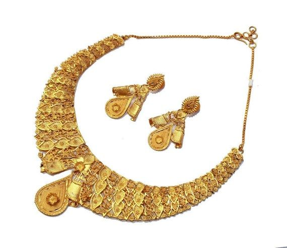 22kt Gold Plated Dubai Style Designer Necklace Set / Gift For Her / Handmade Gold Necklace Set / Ind