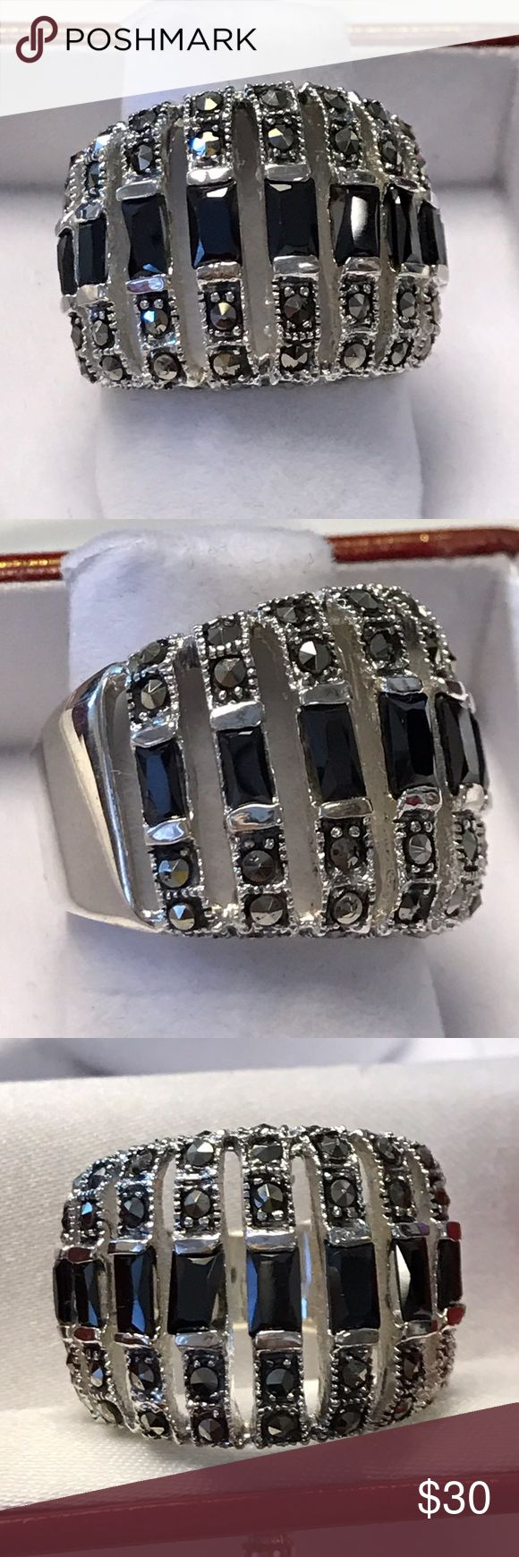 925 Sterling Silver Marquess Onyx Ring High quality Jewelry Rings