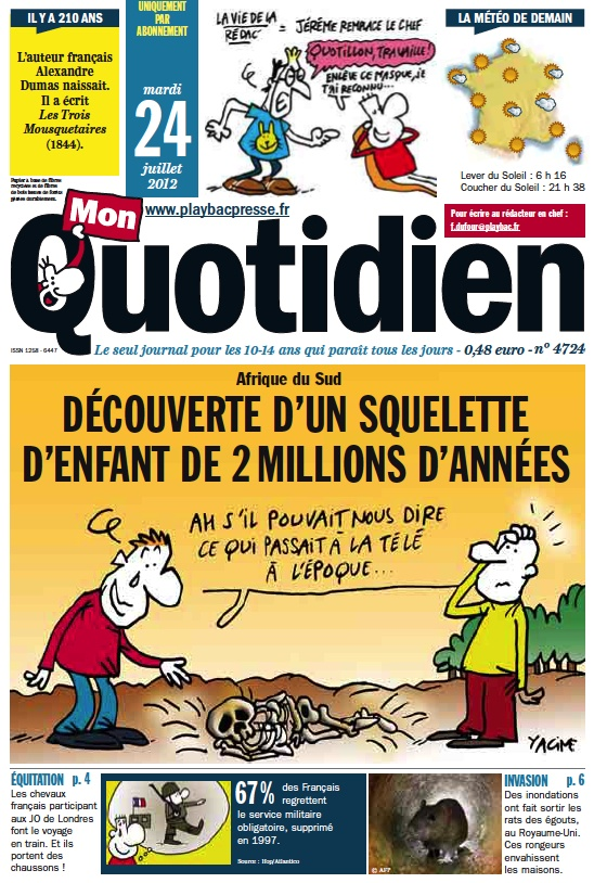 Mon Quotidien - articles for kids 10-14, updated daily