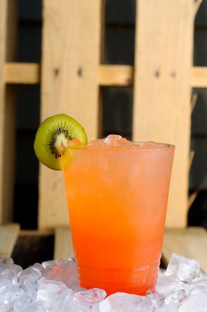 Rum Runner- 1/2 ounce Banana liqueur  1/2 ounce Raspberry liqueur  1/2 ounce light Rum  Splash grenadine and pineapple juice  Typically garnished with a cherry