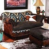King Ranch Saddle Shop Kilim & Leather Sleeper Chair