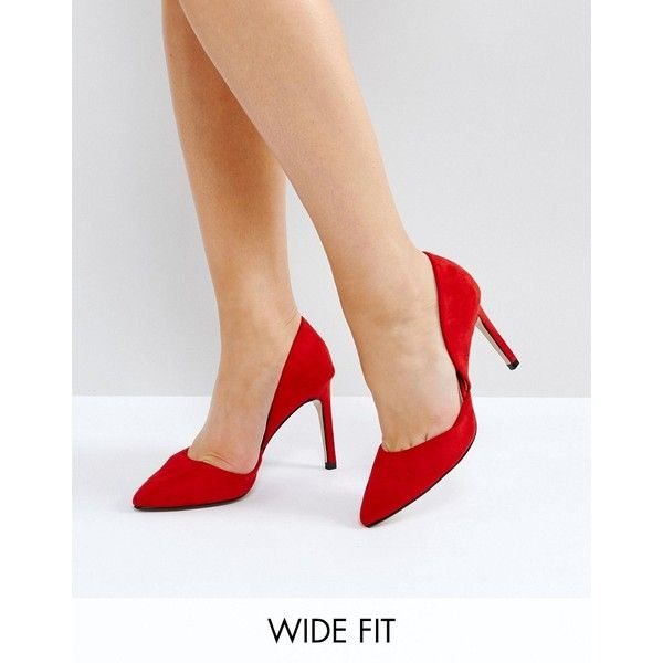 Lost Ink Wide Fit Diana D'Orsay Red Court Shoes ($38) ❤ liked on Polyvore featuring shoes, pumps, red, slip-on shoes, ballet shoes, red pointy toe pumps, red high heel pumps and high heel pumps