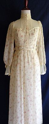 VTG Gunne Sax Romantic Victorian Lace Prairie Boho Hippie Peasant Wedding Dress