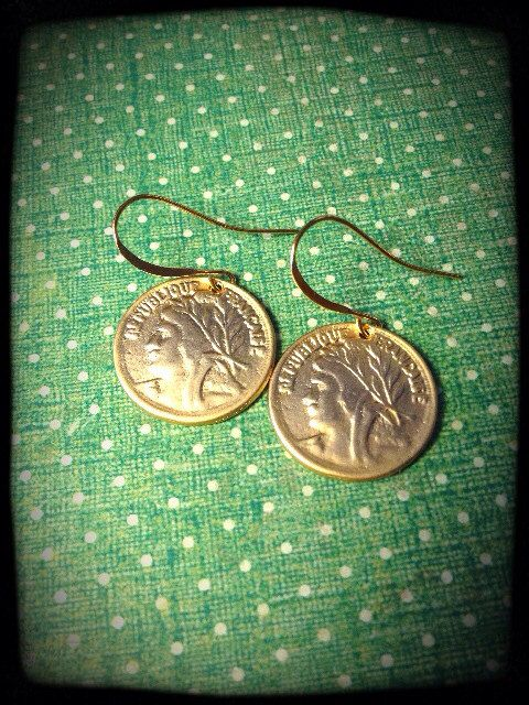 Gold French Coin Earrings on Etsy, $23.00 CAD