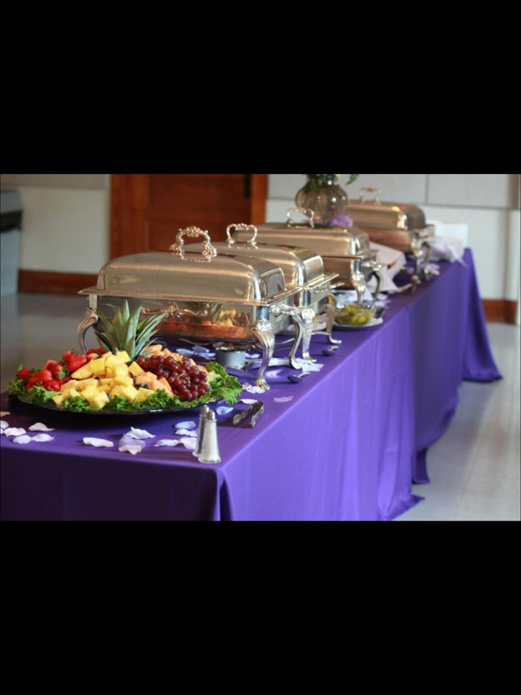 Wedding Buffet with purple tablecloth. Get this look for less at www.tableskirtsandmore.com.