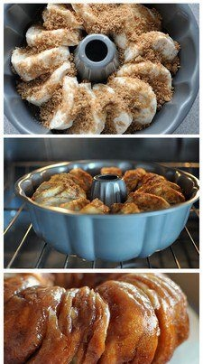 A bundt Pan, Flaky Biscuits dipped first in melted butter, rolled in a cinnamon, sugar and brown sugar mix....Bake til Browned....topped with cream cheese icing, delish and so easy