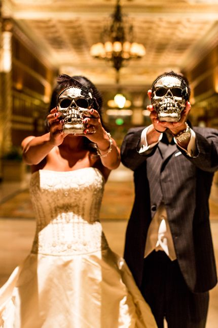 Black + White wedding with Halloween / Gothic / Day of the Dead theme   Beautiful Day Photography #gothicwedding #roguebride