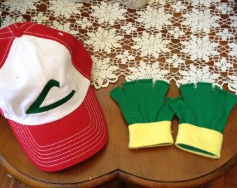 Child Gloves w/ Pokemon Costume Set -- ASH KETCHUM  Cosplay  - Hat & Gloves