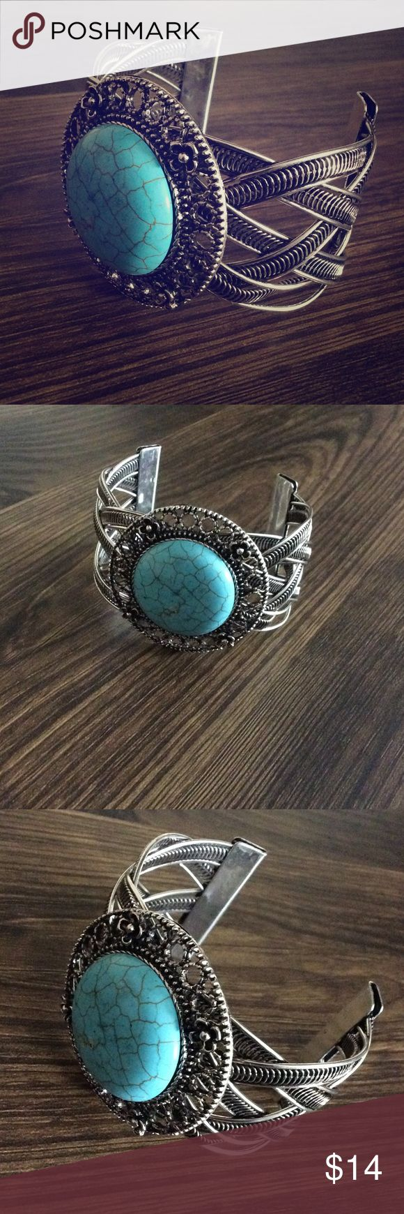 Large Turquoise Circle Stone Braided Cuff Bracelet This bracelet is open cuff and slightly flex. For this reason it'll fit most. Circle turquoise accent and made of mixed metals. neatandnice Jewelry Bracelets