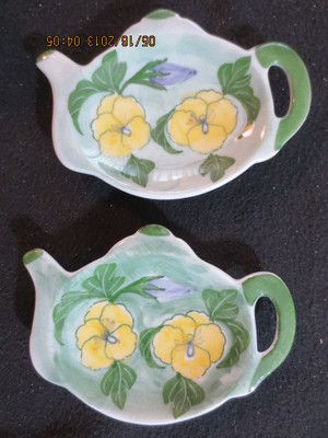 2 Tea Bag Holders Shaped Like A Teapot Green with Yellow Flowers Porcelain on eBay, Lindasquality4less other designs to pick from. New.
