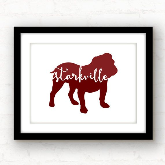 Starkville bulldog  Mississippi state art  by PaperFinchDesign