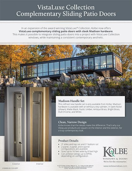 In An Expansion Of The Award Winning VistaLuxe® Collection, Kolbe Now  Offers VistaLuxe Complementary Sliding Patio Doors With Sleek Madison  Hardware.