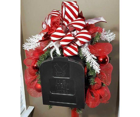 Christmas Mailbox Topper Christmas Mailbox Swag Red