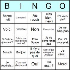 French Phrases Bingo Card...great for listening comprehension