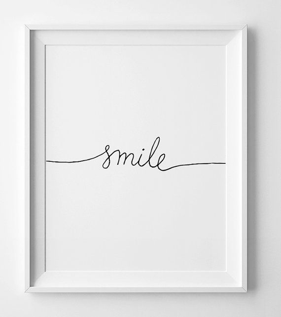 Minimalist print, Smile, black and white, nursery printable, wall art decor, kids room poster, inspi
