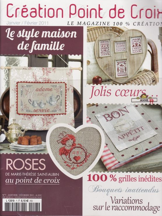 Love French cross stitch! This book has several charts I've already pinned (like the peony in a teacup) but it's nice to see the source.