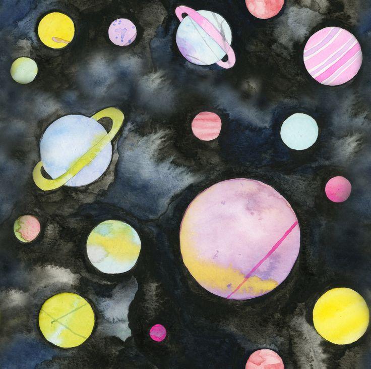 Planètes pastel, Aquarelle sur papier, ©Claudia Tremblay, 2014