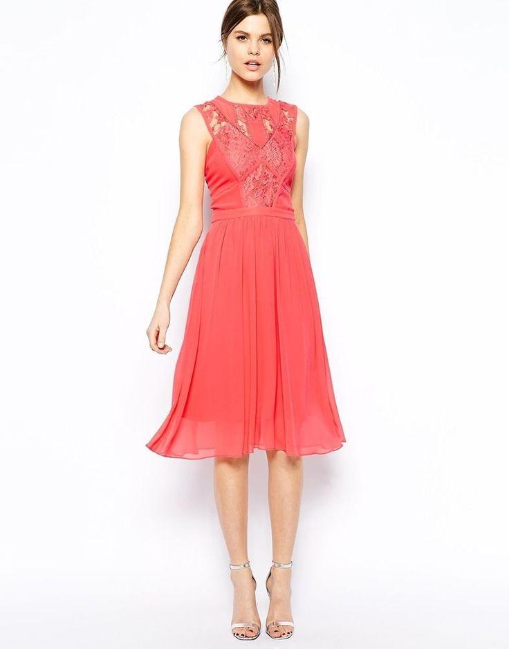 Warehouse Lace Detail Prom Skater Midi Dress
