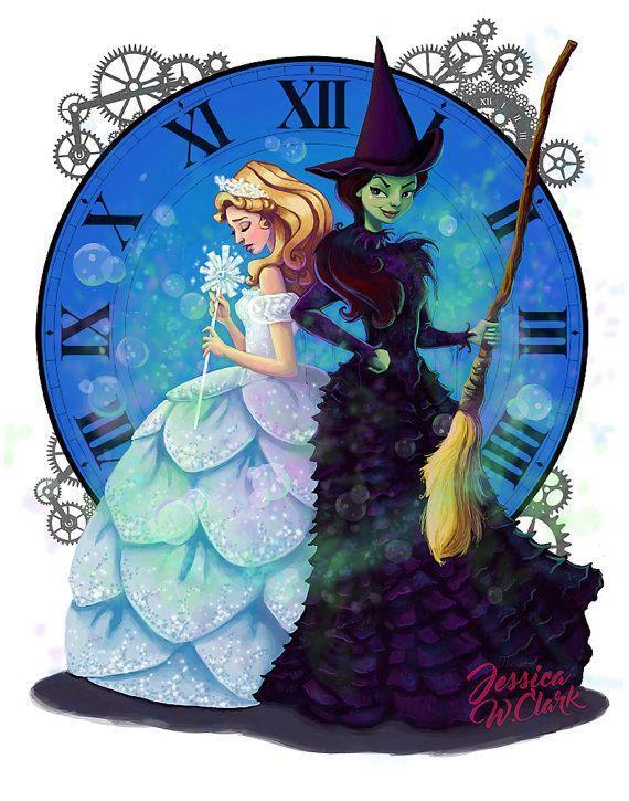 Wicked Fan Art Print, Digital download, Broadway, Elphaba,Glinda, Wizard of Oz, Art, Fantasy,JPEG,Painting,Children's Art, illustration