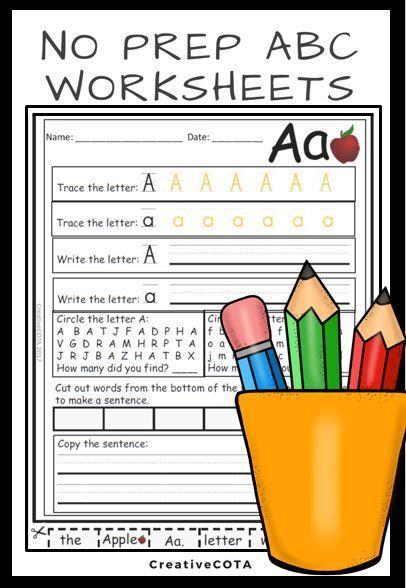 No Prep ABC Worksheets   Pinterest