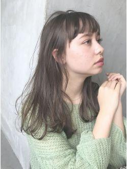 モテ髪ワンカールオン眉ロング 43285 オン眉 ロング オン眉 髪型