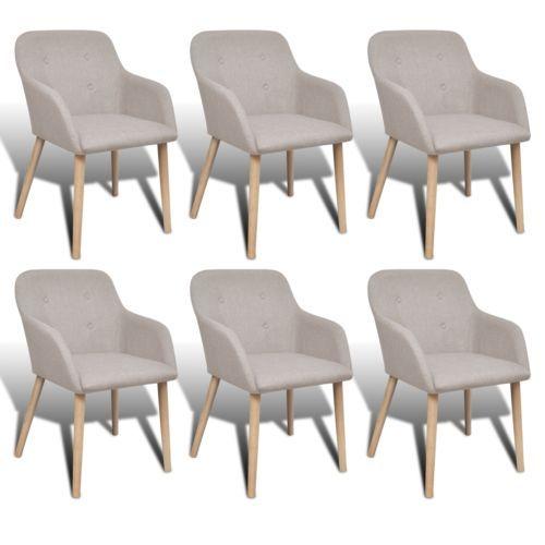 6x Stühle Stuhlgruppe Esszimmerstühle Stuhl Esszimmerstuhl Armlehne Beige Eiche#sparen25.com , sparen25.de , sparen25.info